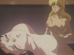 2girls 90s animated animated_gif blonde_hair bouncing_breasts breasts brown_hair futa_with_female futanari girl_on_top large_breasts midorizawa_saki multiple_girls nipples nude parade_parade shina_kaori
