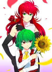 1boy 1girl ascot black_gloves black_pants blown_petals blurry collared_shirt commentary_request crossover depth_of_field elbow_gloves eyebrows_visible_through_hair flower gloves gradient gradient_background green_eyes green_hair hair_between_eyes hand_on_hip highres holding holding_flower kazami_yuuka kurama long_hair long_sleeves looking_at_viewer mattari_yufi pants petals pink_background plaid plaid_vest purple_background red_eyes red_hair red_rose red_vest rose shirt short_hair sidelocks sleeveless sleeveless_shirt smile sunflower touhou trait_connection vest white_background white_shirt yellow_ascot yellow_flower yuu_yuu_hakusho