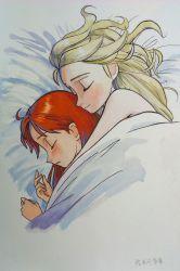 2girls anna_(frozen) blonde_hair couple elsa_(frozen) eyes_closed frozen_(disney) hair_down highres hug hug_from_behind incest lying multiple_girls nude os-da red_hair siblings sisters sleeping under_blanket yuri