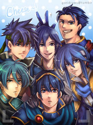6+boys :d :o aqua_eyes aqua_hair armor artist_name bangs black_gloves blue blue_background blue_eyes blue_hair blue_scarf cape celice_(fire_emblem) closed_mouth collarbone color_connection commentary english ephraim expressionless fire_emblem fire_emblem:_akatsuki_no_megami fire_emblem:_ankoku_ryuu_to_hikari_no_tsurugi fire_emblem:_kakusei fire_emblem:_monshou_no_nazo fire_emblem:_rekka_no_ken fire_emblem:_seima_no_kouseki fire_emblem:_seisen_no_keifu fire_emblem:_shin_ankoku_ryuu_to_hikari_no_tsurugi fire_emblem:_shin_monshou_no_nazo fire_emblem:_souen_no_kiseki gem gloves gzei hair_between_eyes hands_on_another's_shoulders headband hector_(fire_emblem) highres ike krom lips looking_at_viewer male_focus marth multiple_boys open_mouth round_teeth ruby_(stone) scarf short_hair simple_background smile spaulders spiked_hair sweatdrop teeth tiara twitter_username upper_body v watermark wing_collar