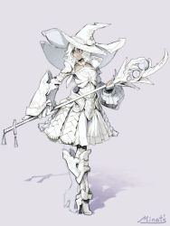 hat minat's original simple_background staff tagme white_hair witch