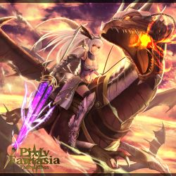 1girl boots breasts dragon long_hair pixiv_fantasia pixiv_fantasia_fallen_kings ponytail red_eyes solo spear very_long_hair weapon white_hair wings yazuwo