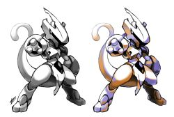armor commentary helmet mewtwo no_humans outstretched_arm pokemon signature simple_background standing tail tomycase white_background