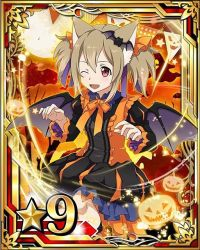 1girl animal_ears bat_hair_ornament black_wings brown_hair card_(medium) cat_ears hair_between_eyes hair_ornament hair_ribbon halloween halloween_costume moon number one_eye_closed open_mouth pumpkin purple_ribbon red_eyes ribbon short_hair silica silica_(sao-alo) solo star sword_art_online wings