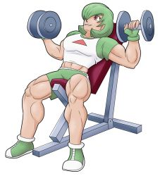 1girl advanceddefense dumbbell exercise fingerless_gloves gardevoir gloves green_hair highres humanization midriff muscle muscular_female personification pokemon red_eyes shirt short_hair shorts solo sweat t-shirt weightlifting weights