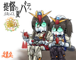 2girls akagi_(kantai_collection) brown_hair crossover food fruit gundam gundam_mk_ii kaga_(kantai_collection) kantai_collection long_hair mayohi_neko multiple_girls side_ponytail watermelon zeta_gundam zeta_gundam_(mobile_suit)