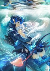 blue_eyes blue_hair blue_legwear ciel_(elsword) elsword horns hug long_hair luciela_r._sourcream pointy_ears servati tail thighhighs underwater white_hair