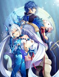 1boy 1girl black_bow blue_boots blue_eyes blue_hair boots bow chair ciel_(elsword) cravat demon_girl elsword gloves hair_bow horns legs_crossed long_hair luciela_r._sourcream meow noblesse_(elsword) pants pointy_ears ponytail royal_guard_(elsword) sitting stuffed_animal stuffed_toy teddy_bear thigh_boots thighhighs twintails white_hair