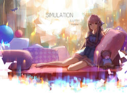 1girl artist_name barefoot bow copyright_name dress highres light_particles long_hair looking_at_viewer on_bed pillow rin_(shelter) shelter_(music_video) sishenfan sitting solo stuffed_animal stuffed_toy teddy_bear