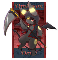 character_name clothed_pokemon demon_tail ivan_(ffxazq) no_humans pokemon red_eyes scythe tail umbreon wings