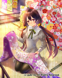 1girl blush brown_hair cloth company_name dress hair_ornament hanekoto juliet_sleeves light_smile long_hair long_sleeves low_twintails pantyhose puffy_sleeves solo twintails