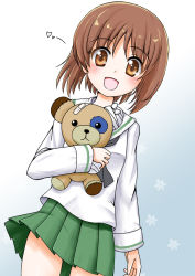 1girl boko_(girls_und_panzer) brown_eyes brown_hair flipper girls_und_panzer nishizumi_miho school_uniform serafuku short_hair stuffed_animal stuffed_toy teddy_bear
