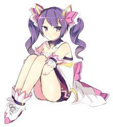 1girl aisha_(elsword) bare_shoulders blush bomu bow elsword hair_ornament hairclip long_hair purple_eyes purple_hair sitting skirt smile solo twintails white_background