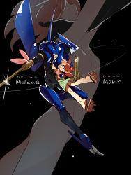 android armor asagi_marin brigadoon brown_hair dual_persona green_eyes highres mecha melan_blue ponytail weapon yutaka7