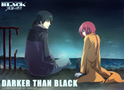 1boy 1girl aneunyeoja black_eyes black_hair braid coat copyright_name darker_than_black facial_hair from_behind green_eyes hei highres jacket long_hair ponytail red_hair single_braid sitting stubble suou_pavlichenko