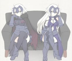 1girl armor armored_boots bangs beige_background black_legwear blonde_hair boots breasts capelet chains cleavage cloak closed_mouth couch eye_contact eyebrows_visible_through_hair fate/apocrypha fate/grand_order fate_(series) fur_trim grey_hair hand_on_own_cheek headpiece jeanne_alter legs_crossed long_hair looking_at_another medium_breasts mobu on_couch ruler_(fate/apocrypha) simple_background sitting solo symmetry thighhighs yellow_eyes