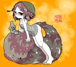 1girl ass brown_hair flat_chest fluffy futatsuiwa_mamizou glasses half-closed_eyes leaf leaf_on_head legs naked_towel orange_background parted_lips pince-nez purple_eyes see-through shiny shiny_hair simple_background solo sparkle steam thighs toes touhou towel translation_request wet wet_hair yt_(wai-tei)