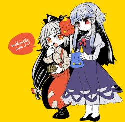 2girls beans blue_dress blue_hair blush_stickers bow collared_shirt dress eating english eyes_visible_through_hair friends fujiwara_no_mokou hair_bow kamishirasawa_keine layered_clothing long_hair long_sleeves looking_at_another multicolored_hair multiple_girls no_hat no_headwear oni_mask pants puffy_long_sleeves puffy_sleeves red_eyes red_pants setsubun shirt sidelocks simple_background sleeveless sleeveless_dress smile standing suspenders touhou two-tone_hair very_long_hair yellow_background yt_(wai-tei)