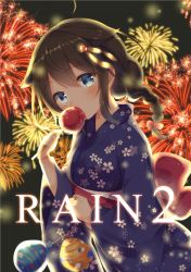 1girl aerial_fireworks ahoge alternate_costume backlighting bangs black_hair blue_eyes bow braid candy_apple cowboy_shot eating emilion eyebrows eyebrows_visible_through_hair festival fireworks floral_print food hair_bow hair_flaps hair_ornament head_tilt highres holding holding_food japanese_clothes jewelry kantai_collection kimono long_sleeves looking_at_viewer night obi print_kimono remodel_(kantai_collection) ring sash shigure_(kantai_collection) single_braid solo summer_festival text water_yoyo wedding_band wide_sleeves yukata