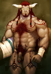 1boy abs bandage bara body_hair fangs flaccid foreskin horns male_focus muscle nipples ogre pecs penis red_hair rumzrumz solo tattoo testicles