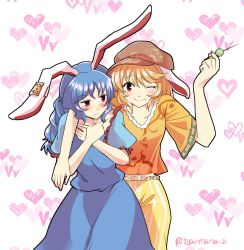2girls :t animal_ears blonde_hair blue_dress blue_hair blush bunny_ears commentary_request dango dress ear_tag floppy_ears food hat heart juliet_sleeves long_hair long_sleeves looking_at_another looking_at_viewer mana_(gooney) multiple_girls one_eye_closed puffy_sleeves red_eyes ringo_(touhou) seiran_(touhou) short_hair smile touhou wagashi yuri