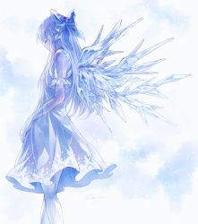 1girl blue blue_bow blue_hair bow cirno dress eyes_closed fleur-de-lis hair_bow highres ice ice_wings long_hair older puffy_short_sleeves puffy_sleeves see-through short_sleeves solo touhou very_long_hair wings
