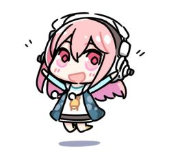1girl chibi headphones jumping long_hair looking_at_viewer minoa_(lastswallow) nitroplus open_mouth pink_eyes pink_hair smile solo super_sonico white_background