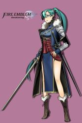 1girl breasts fire_emblem fire_emblem:_kakusei fire_emblem:_rekka_no_ken green_eyes green_hair long_hair lyndis_(fire_emblem) nintendo ponytail sword weapon