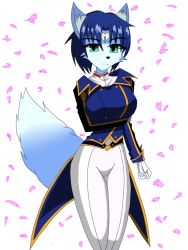 1girl blue_hair female green_eyes krystal nintendo solo star_fox tail uniform