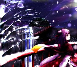 1girl architecture bandage bridge bun_cover chinese_clothes double_bun east_asian_architecture female highres ibaraki_kasen itocoh night pink_eyes pink_hair scarf short_hair skirt snow solo tabard touhou water waterfall winter