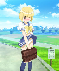 1girl artist_request blonde_hair blush bridge city cityscape cloud crane nichijou panties school_uniform sekiguchi_yuria sign skirt_lift sky water |_|
