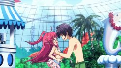1boy 1girl amakusa_kanade animated animated_gif barefoot bikini black_hair bow carrying child douraku_utage eyes_closed hair_bow hair_ornament lift lifting long_hair ore_no_nounai_sentakushi_ga_gakuen_love-comedy_wo_senryoku_de_jama_shiteru ponytail red_hair short_hair shorts side_ponytail swimsuit trunks