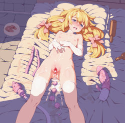 1girl aftersex anal_beads anus blonde_hair blue_eyes blush bottle bow censored choker cum cum_in_ass cum_in_pussy dildo elbow_gloves facial flat_chest food gloves hair_bow highres leaking legs loli long_hair lying nipples nude on_back open_mouth original pet photoshop pillow pointy_ears pussy solo tears tenako thighhighs twintails uncensored