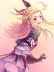 1girl ass blonde_hair blush bow bravely_default:_flying_fairy bravespiritya brown_hair dress edea_lee gloves hair_bow long_hair looking_at_viewer looking_back open_mouth pantyhose smile white_legwear