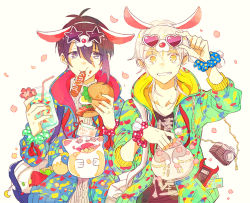 2boys animal_ears bacon blue_eyes bowl camera candy card cherry_blossoms collarbone drink drinking_straw eating egg fake_animal_ears flower food food_on_face glasses grin hamburger heart_shape holding holding_food hood hood_down hoodie hot_dog jacket jar lettuce looking_at_another mikazuki_munechika multiple_boys pale_skin petals phone phone_screen phone_with_ears pocket shiny shiny_hair smile sparkling_eyes star_shades strap sweater teeth time touken_ranbu tsurumaru_kuninaga white_background white_hair yellow_eyes