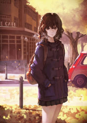 1girl backpack bag breath brown_eyes brown_hair car expressionless hands_in_pockets highres jacket lips motor_vehicle original pleated_skirt short_hair skirt solo tree vehicle wavy_hair yasukura_(shibu11)