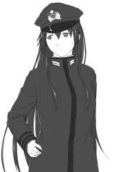 epaulettes female_admiral_(kantai_collection) hand_on_hip hat highres kantai_collection long_hair looking_to_the_side niwatazumi tatebayashi_sakurako uniform