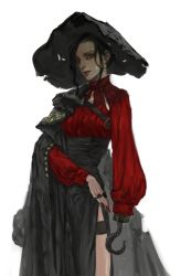 1girl amputee black_hair captain_hook cloak garters genderswap hat hook_hand lips long_hair long_skirt looking_at_viewer nose original physician27 pirate shirt side_slit skirt solo