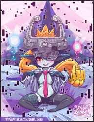 1girl 2016 black_legwear blush breasts clitoris dildo fairy heart helmet imp looking_at_viewer midna nintendo nipples one_eye_covered open_mouth open_shirt pussy pussy_juice sex_toy shiny shiny_clothes shiny_skin shirt sitting skajrzombie the_legend_of_zelda the_legend_of_zelda:_twilight_princess thighhighs tie vaginal_insertion vaginal_object_insertion