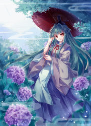 1girl flower green_hair hair_intakes hakama hichou highres hydrangea japanese_clothes leaf lilac long_hair looking_at_viewer mystical_power_plant nail_polish nature oriental_umbrella original rain red_eyes red_nails sky solo suitokuin_tenmu touhou umbrella