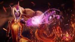 armband character_name dgatrick gem highres horn jewelry league_of_legends long_hair magic pointy_ears ponytail purple_skin soraka staff tattoo very_long_hair white_hair yellow_clothes yellow_eyes