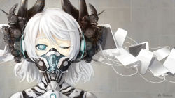 1girl apple_inc. black_eyes cable cellphone dr.beeeee headphones highres horns iphone mask one_eye_closed personification phone short_hair siri smartphone solo white_hair