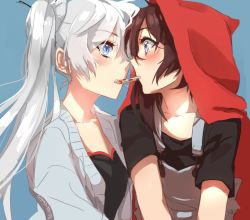 2girls :o azure-zer0 black_hair black_shirt blue_background blue_eyes blush cardigan close-up cookie eye_contact face-to-face food long_hair long_sleeves looking_at_another multiple_girls open_clothes open_mouth purple_eyes red_hood ruby_rose rwby sharing_food shirt short_hair short_sleeves side_ponytail simple_background suspenders weiss_schnee white_hair yuri