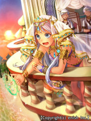1girl 2boys arabian_clothes armlet balcony beach blue_eyes bracelet character_request dragon_tactics dutch_angle ichinose777 jewelry lens_flare long_hair multiple_boys navel necklace official_art open_mouth palm_tree ring short_hair sky solo_focus sun tree water
