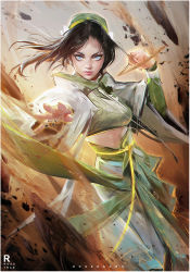 1girl alternate_costume avatar:_the_last_airbender avatar_(series) black_hair blind dress element_bending looking_at_viewer rock ross_tran solo toph_bei_fong