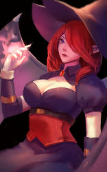 cleavage hat league_of_legends morgana red_hair
