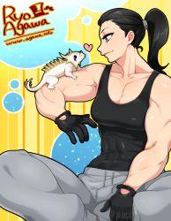 1girl agawa_ryou black_hair borrowed_character fakemon gloves grey_eyes heart lizard muscle pokemon ponytail spikes tank_top