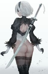 1girl android ass back back_cutout black_dress black_hairband blindfold boots dress feather-trimmed_sleeves from_behind gloves hairband highres katana leotard long_sleeves nier_(series) nier_automata solo sword thigh_boots thighhighs thighhighs_under_boots thong_leotard weapon white_background white_hair white_leotard yohan1754 yorha_no._2_type_b