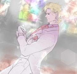 1boy blonde_hair caesar_anthonio_zeppeli corsage facial_mark formal gloves idachi jojo_no_kimyou_na_bouken solo suit