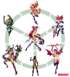 3girls ass boots breasts disgaea etna fusion hexafusion high_heel_boots high_heels hips imp midna mileena mortal_kombat multiple_girls nail_polish orange_hair red_eyes red_hair sharp_teeth supersatanson tail teeth the_legend_of_zelda the_legend_of_zelda:_twilight_princess thigh_boots wings